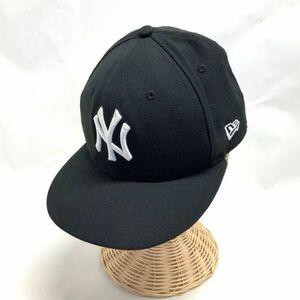 美品 ニューエラ NEWERA NY ヤンキース 裏 レインボー刺繍 ベースボールキャップ ブラック 7/1/8 サイズ ウール素材 帽子 CAP 人気