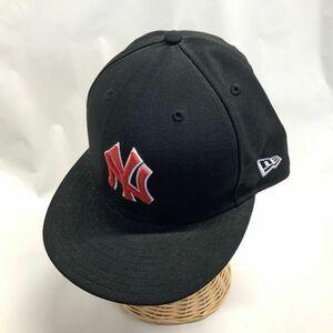 良品 NEWERA ニューエラ NY ニューヨークヤンキース ベースボールキャップ CAP 帽子 黄金サイズ 71/2 59.6cm ブラック レッド