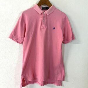 良品 POLO by Ralph Lauren ポロ ラルフローレン 鹿の子 ワンポイント刺繍 半袖 ポロシャツ メンズ M ピンク ネイビー 紺 刺繍