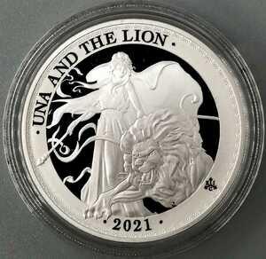 ◆ウナとライオンの最新版!◆限定1,000枚!◆2021 英国 イギリス領セントヘレナ 1オンス プルーフ 銀貨 箱 COA エリザベス シルバーコイン