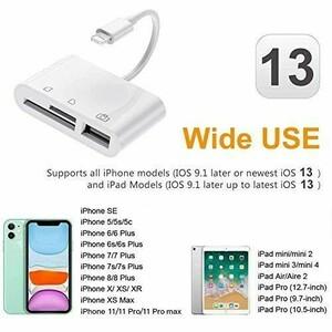 iPhone SD カードリーダー 3in1 最新 iOS14 双方向 高速データ転送 写真 ビデオ 読み書き カメラ