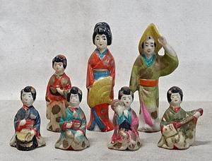 時代・磁器人形・まとめて 射的人形/土人形/舞妓/芸者/郷土玩具/戦前