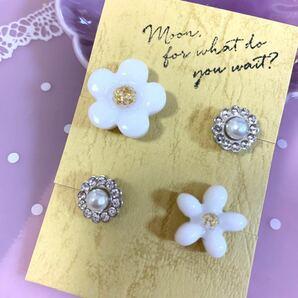 ピアス ハンドメイド 2種類セット 花柄 白色 パール