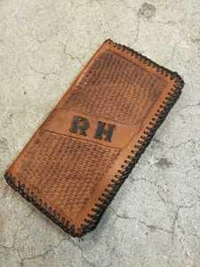 1970~80s ビンテージ デッドストックカービング レザーウォレット 財布 長財布片面カービング 17.5cm×8.5cm