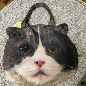 ★猫☆ネコ★ねこ☆猫の顔★がま口バッグ☆大きい★可愛い☆未使用品★