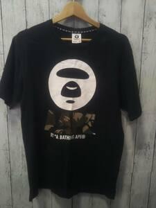 A BATHING APE アベイシングエイプ AAPTEM2159XX6 半袖Tシャツ ロゴプリント メンズ ブラック コットン M