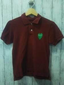 COMME des GARCONS コムデギャルソン AZ-T045 PLAYポロシャツ 半袖ポロシャツ 日本製 ハートロゴ レディース ワインレッド コットン S