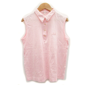 クレージュ courreges sport futur シャツ ブラウス ノースリーブ ポロカラー 刺繍 薄手 9 ピンク /MS28 レディース
