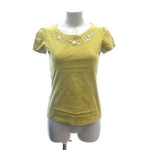 クミキョク 組曲 KUMIKYOKU Tシャツ カットソー 半袖 クルーネック ビジュー付き 2 黄緑 ライトグリーン /CT レディース