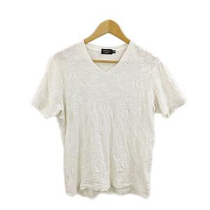 エポカ ウォモ EPOCA UOMO Tシャツ カットソー プルオーバー Vネック 総柄 半袖 ITL 50 白 ホワイト メンズ