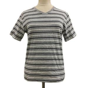 ビームスハート BEAMS HEART Tシャツ カットソー プルオーバー Vネック ボーダー 半袖 S グレー 白 ホワイト レディース