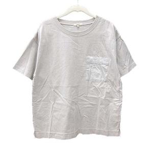 スタディオクリップ スタジオクリップ Tシャツ カットソー 半袖 クルーネック 切替 シャツ バックプリント M ライトグレー レディース