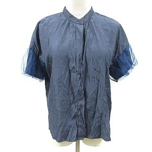 ニコルセレクション NICOLE selection シャツ ブラウス ノーカラー 半袖 チュール 比翼 スリット M 紺 ネイビー /AAM28 レディース