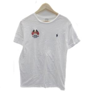 ポロ ラルフローレン POLO RALPH LAUREN Tシャツ カットソー ラウンドネック 半袖 ロゴ刺繍 M 白 ホワイト /HO27 メンズ