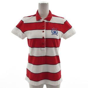 23区SPORT オンワード樫山 ポロシャツ 半袖 ボーダー ロゴ刺繍 ラインストーン ホワイト 白 レッド 赤 ネイビー 紺 L