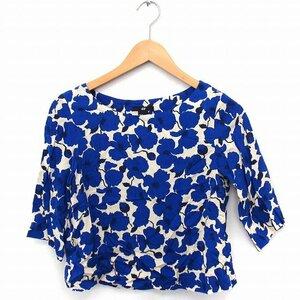 エイチ&エム H&M シャツ ブラウス 花柄 丸首 五分袖 32 ブルー 青 /FT21 レディース