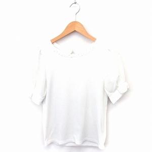 マジェスティックレゴン MAJESTIC LEGON Tシャツ カットソー ビーズ装飾 袖シフォン 丸首 五分袖 F ホワイト 白 /FT6 レディース