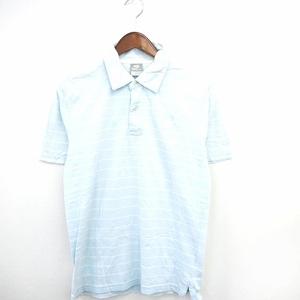 ナイキ NIKE 国内正規品 シャツ カジュアル ポロ ポロシャツ ボーダー ロゴ刺繍 半袖 コットン 綿 M ライトブルー /MT10 メンズ