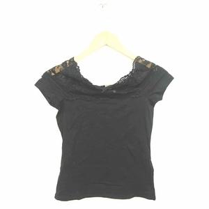 エイチ&エム H&M カットソー Tシャツ レース 透け感 シースルー 半袖 S 黒 ブラック /TT18