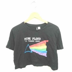 エイチ&エム H&M DIVIDED Tシャツ カットソー 丸首 英字 プリント ショート丈 半袖 M 黒 赤 ブラック レッド /TT22