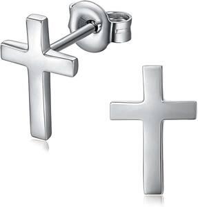 クロス スタッドピアス レディース/メンズ 十字架 ユニセックス 純銀シルバー925 金属アレルギー対応 2個セット 両耳/片耳(両用)
