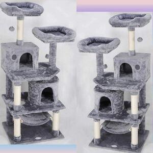 【安定感抜群で極上の猫心地!★5段階式設計で多頭飼いにも最適★高耐荷重25kgで愛猫ちゃんも飼い主さんも安心安全】キャットタワー 据置型