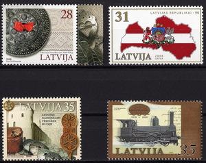 ★2008-2009年 ラトビア- 「プレート」+「共和国樹立90周年」+「国立博物館」+「蒸気機関車」各1種完 未使用(MNH)★YH-507