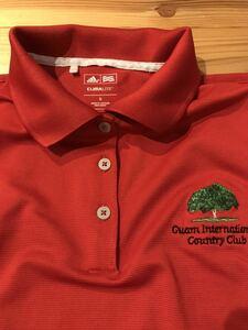 送料込み!アディダス adidas 半袖ポロシャツ 赤 レッド Sサイズ グアムインターナショナルカントリークラブ ゴルフ ゴルフウェア GOLF