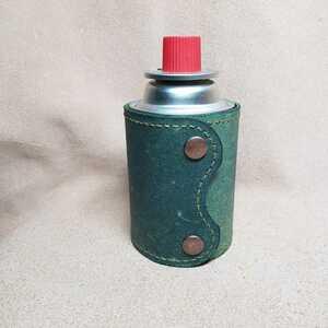 ハンドメイドのイワタニJr缶(カセットボンベ)CB缶カバー 牛床革 緑色染めムラ模様