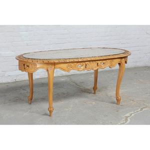 #8348 ヨーロッパ市場在庫品 アンティーク家具 コーヒーテーブル 1940年代 ベルギー原産 ウォールナット/天板ガラス製