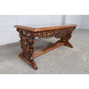 #9151 ヨーロッパ市場在庫品 アンティーク家具 コーヒーテーブル 1920年代 ベルギー原産 ウォールナット/天板ガラス製