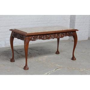 #8137 ヨーロッパ市場在庫品 アンティーク家具 コーヒーテーブル 1920年代 ベルギー原産 オーク/天板大理石製