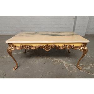 #9317 ヨーロッパ市場在庫品 アンティーク家具 コーヒーテーブル 1950年代 イタリア原産 ブロンズ/天板大理石製
