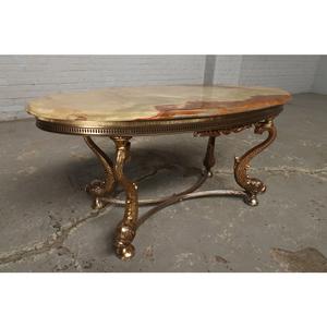 #9322 ヨーロッパ市場在庫品 アンティーク家具 コーヒーテーブル 1950年代 イタリア原産 ブロンズ/天板大理石製