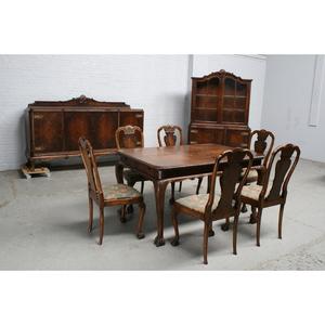 #9375 ヨーロッパ市場在庫品 アンティーク家具 ダイニングルーム9点セット 1930年代 ベルギー原産 ウォールナット製