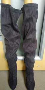 ロングブーツ 太もも丈 ベロア生地 24cm ロングブーツ 黒