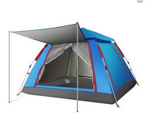 【新品】テント 3-4人用 ワンタッチテント UVカットコーティング採用 キャンプ ブルーカラー
