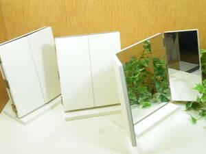Q-1436◇三面鏡木製ずっしり卓上ミラー 鏡厚5mm 3台set ホワイト店内陳列備品