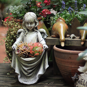 多肉植物プランター ガーデンオーナメント フラワーポット エンジェル 置物 ガーデニング オブジェ 天使 ガーデン 庭 屋外 玄関 gttg03