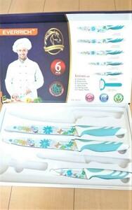 ★新品 エバーリッチ 包丁3点セット ブルー花柄★包丁柄 包丁花柄 包丁絵