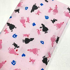 ●お値下げしました    綿オックス:不思議の国のアリス:ピンク:生地幅×50:生地ハギレ
