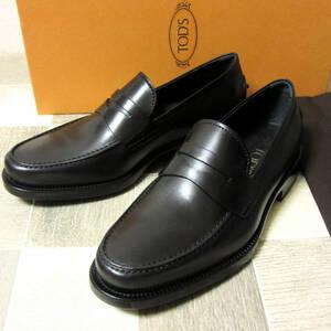 未使用 TOD'S トッズ イタリア製 メンズ レザーローファー ローファー ドライビングシューズ ゴンミーニ 革靴 ブラック 黒 UK5.5 24.5cm