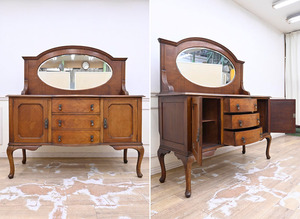 NE22 購入80万円 フランス アンティーク サイドボード 飾り棚 キャビネット リビングボード 鏡付 猫脚 ヴィンテージ