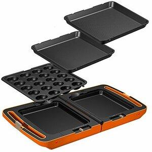 ◇◇◆2)オレンジ 大 アイリスオーヤマ ホットプレート たこ焼き 平面 ディンプル プレート 3枚 両面 角型 左右独立温度設