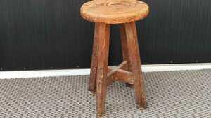 レトロ 木味 丸椅子 木製 スツール イス ディスプレイ インテリア 古民家 古道具