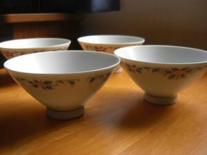 未使用 Noritake ノリタケ 昭和レトロな花絵 陶器製 茶碗 飯碗4点セット(5)*KS304