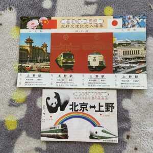 北京上野駅友好交流記念入場券&ポストカードセット