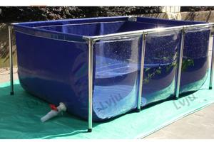 前面クリア プール 610L  幅100×奥行100×高さ61cm (NO11) 大型 水槽 タンク 鯉 大型魚 屋外 透明 PVC ビニール 池
