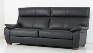 新品 未使用 3人掛けソファ イタリア社製厚革ソファ ブラック 黒 284B M11 3P