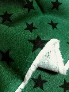 綿麻キャンバス☆星の柄☆グリーン